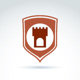 Vector tower emblem, historical monument symbol. Placed on a shield. Ancient fortress depiction on a coat of arms Royalty Free Stock Images