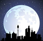vector town background and moon Stock Photos