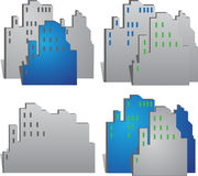Vector town buildings Stock Photos