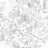 Vector town city streets Intersection outline. Cartoon buildings and road top view. Gray lines outline contour style. Town city streets Intersection outline royalty free illustration