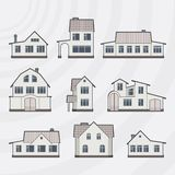 Vector town houses icon set Royalty Free Stock Photography