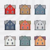Vector town houses icon set Royalty Free Stock Images