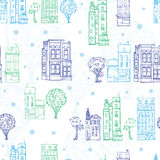 Vector Town Houses Trees Streets Blue Green Drawing Seamless Pattern with polka dots. Perfect for travel themed designs Royalty Free Stock Photos