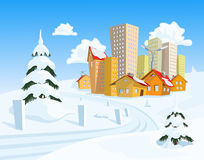 Vector town with snowy road Stock Photo