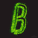 Vector Toxic Font 001. Letter B. Vector grunge toxic font 001. Letter B. Abstract acid scatter glowing bright green color particles background. Radioactive waste Royalty Free Stock Photo