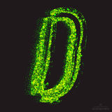Vector Toxic Font 001. Letter D. Vector grunge toxic font 001. Letter D. Abstract acid scatter glowing bright green color particles background. Radioactive waste Stock Image