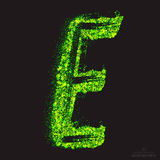 Vector Toxic Font 001. Letter E. Vector grunge toxic font 001. Letter E. Abstract acid scatter glowing bright green color particles background. Radioactive waste vector illustration