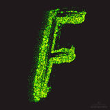 Vector Toxic Font 001. Letter F. Vector grunge toxic font 001. Letter F. Abstract acid scatter glowing bright green color particles background. Radioactive waste vector illustration