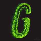 Vector Toxic Font 001. Letter G. Vector grunge toxic font 001. Letter G. Abstract acid scatter glowing bright green color particles background. Radioactive waste stock illustration