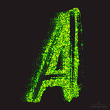 Vector Toxic Font 001. Letter A. Vector grunge toxic font 001. Letter A. Abstract acid scatter glowing bright green color particles background. Radioactive waste Royalty Free Stock Images