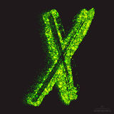 Vector Toxic Font 001. Letter X. Vector grunge toxic font 001. Letter X. Abstract acid scatter glowing bright green color particles background. Radioactive waste stock illustration