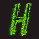 Vector Toxic Font 001. Letter H. Vector grunge toxic font 001. Letter H. Abstract acid scatter glowing bright green color particles background. Radioactive waste Stock Image