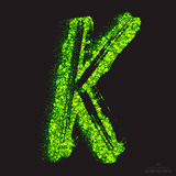 Vector Toxic Font 001. Letter K. Vector grunge toxic font 001. Letter K. Abstract acid scatter glowing bright green color particles background. Radioactive waste stock illustration