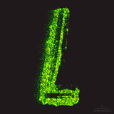 Vector Toxic Font 001. Letter L. Vector grunge toxic font 001. Letter L. Abstract acid scatter glowing bright green color particles background. Radioactive waste stock illustration