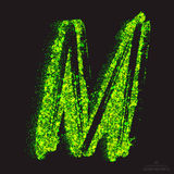 Vector Toxic Font 001. Letter M. Vector grunge toxic font 001. Letter M. Abstract acid scatter glowing bright green color particles background. Radioactive waste Stock Images