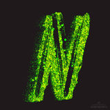 Vector Toxic Font 001. Letter N. Vector grunge toxic font 001. Letter N. Abstract acid scatter glowing bright green color particles background. Radioactive waste stock illustration