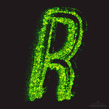 Vector Toxic Font 001. Letter R. Vector grunge toxic font 001. Letter R. Abstract acid scatter glowing bright green color particles background. Radioactive waste royalty free illustration