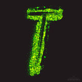 Vector Toxic Font 001. Letter T. Vector grunge toxic font 001. Letter T. Abstract acid scatter glowing bright green color particles background. Radioactive waste stock illustration