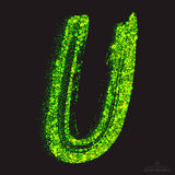 Vector Toxic Font 001. Letter U. Vector grunge toxic font 001. Letter U. Abstract acid scatter glowing bright green color particles background. Radioactive waste vector illustration