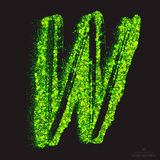 Vector Toxic Font 001. Letter W. Vector grunge toxic font 001. Letter W. Abstract acid scatter glowing bright green color particles background. Radioactive waste vector illustration