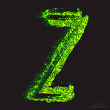 Vector Toxic Font 001. Letter Z. Vector grunge toxic font 001. Letter Z. Abstract acid scatter glowing bright green color particles background. Radioactive waste vector illustration
