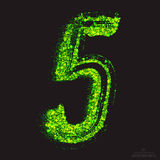 Vector Toxic Font 001. Number 5. Vector grunge toxic font 001. Number 5. Abstract acid scatter glowing bright green color particles background. Radioactive waste royalty free illustration