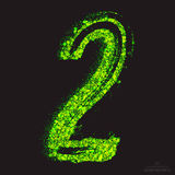 Vector Toxic Font 001. Number 2. Vector grunge toxic font 001. Number 2. Abstract acid scatter glowing bright green color particles background. Radioactive waste royalty free illustration