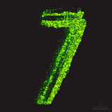 Vector Toxic Font 001. Number 7. Vector grunge toxic font 001. Number 7. Abstract acid scatter glowing bright green color particles background. Radioactive waste royalty free illustration