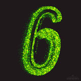 Vector Toxic Font 001. Number 6. Vector grunge toxic font 001. Number 6. Abstract acid scatter glowing bright green color particles background. Radioactive waste stock illustration