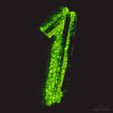 Vector Toxic Font 001. Number 1. Vector grunge toxic font 001. Number 1. Abstract acid scatter glowing bright green color particles background. Radioactive waste royalty free illustration