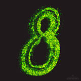 Vector Toxic Font 001. Number 8. Vector grunge toxic font 001. Number 8. Abstract acid scatter glowing bright green color particles background. Radioactive waste vector illustration
