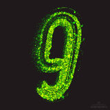 Vector Toxic Font 001. Number 9. Vector grunge toxic font 001. Number 9. Abstract acid scatter glowing bright green color particles background. Radioactive waste Royalty Free Stock Image