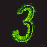 Vector Toxic Font 001. Number 3. Vector grunge toxic font 001. Number 3. Abstract acid scatter glowing bright green color particles background. Radioactive waste stock illustration