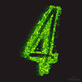 Vector Toxic Font 001. Number 4. Vector grunge toxic font 001. Number 4. Abstract acid scatter glowing bright green color particles background. Radioactive waste vector illustration