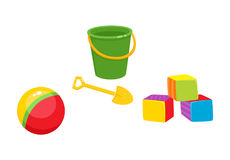 Vector toys. Flat Ball, cubics, bucket sand shovel. Set of vector baby toys in flat style. Cubic blocks, striped rubber ball, baby bucket and sand shovel Stock Image