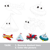 Vector trace educational game for preschool kids. Royalty Free Stock Image