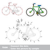Vector trace educational game for preschool kids. Bicycle. Dot to dot educational game for kids, task is to connect dots by numbers Stock Photo