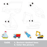 Vector trace educational game for preschool kids. Stock Image
