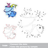 Vector trace educational game for preschool kids. Bucket with fish catch. Dot to dot educational game for kids Stock Photos