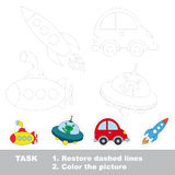 Vector trace educational game for preschool kids. Submarine and ufo and car and rocket, the Transport tracing set. Dot to dot educational game for kids Royalty Free Stock Image