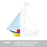 Vector trace game. Boat to be colored. Vector colorful Boat to be traced. Restore dashed line and color the picture. Worksheet to be colored Royalty Free Stock Photos