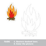 Vector trace game. bonfire to be traced. Royalty Free Stock Photo