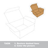 Vector trace game. Brown opened empty box to be traced. Stock Photo