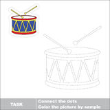 Vector trace game. Drum to be traced. Royalty Free Stock Photos