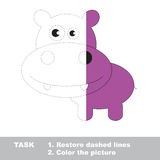 Vector trace game. hippo to be colored. Stock Photography