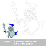 Vector trace game. Knight to be traced. Royalty Free Stock Images