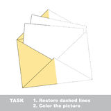 Vector trace game. Paper envelope to be colored. Vector colorful paper envelope to be traced. Restore dashed line and color the picture. Worksheet to be colored Stock Photography