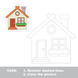 Vector trace game. Small cute house to be traced. Stock Photography