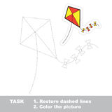 Vector trace game. toy kite to be traced. Vector toy kite to be traced. Restore dashed line and color the picture Stock Image
