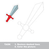 Vector trace game. Toy sword to be traced. Stock Photos